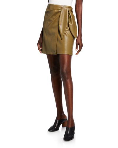 Iowa Vegan-Leather Wrap Mini Skirt