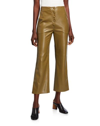 Sora Vegan Leather Button-Front Cropped Pants