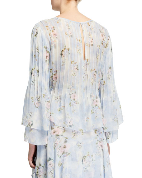 Paulette Floral-Print Pintucked Blouse