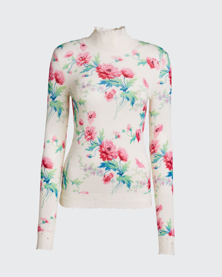 Floral-Print Distressed Cashmere Turtleneck Sweater