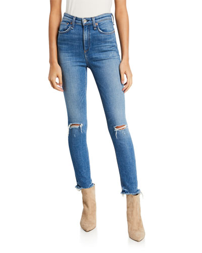 Nina High-Rise Ankle Skinny with Frayed Hem & Rip Knee