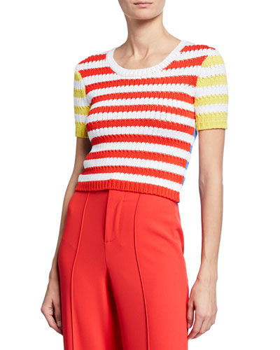 a3a0a360271 Ciara Striped Short-Sleeve Cropped Cable Sweater Quick Look. Alice + Olivia