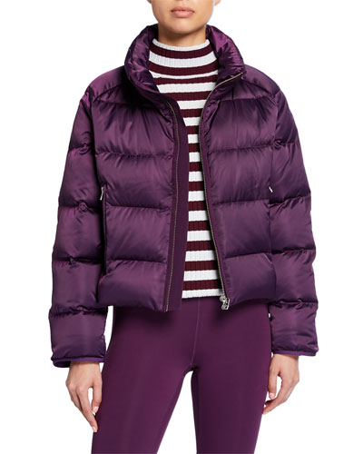 Satin Down-Fill Cropped Puffer Jacket