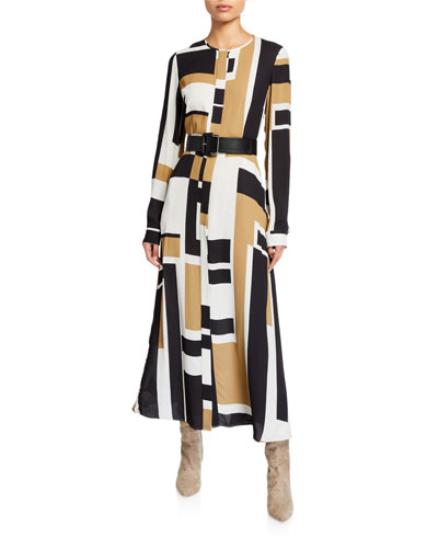 Emberly Graphic Block Long-Sleeve Drape Cloth Midi Dress