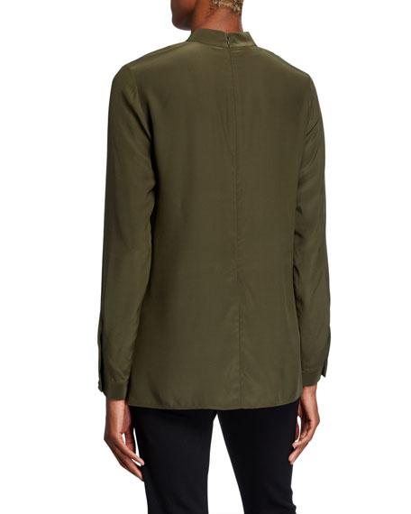 Bartley Mock-Neck Long-Sleeve Matte Silk Blouse