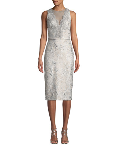 Sleeveless Cloque Cocktail Dress w/ Metallic Lace