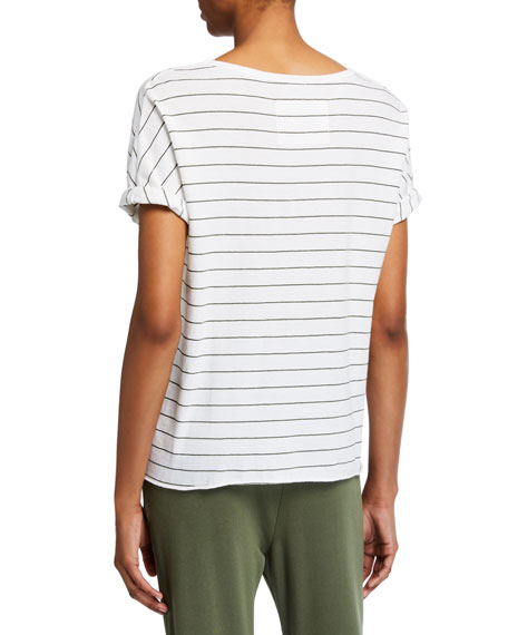 Deep V-Neck Striped Short-Sleeve Tee