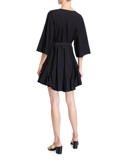 Ryan 3/4-Sleeve Short Dress with Belt Bag