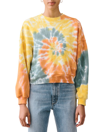Balloon-Sleeve Tie-Dye Sweatshirt