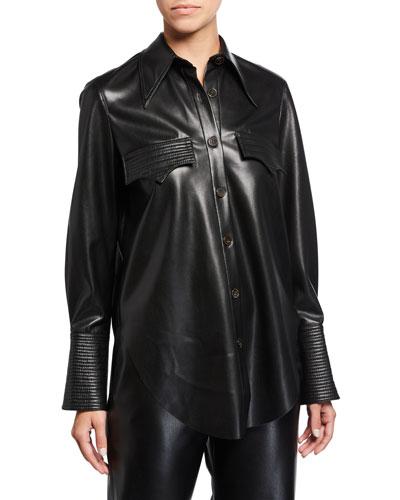 Elpi Vegan Leather Long-Sleeve Button-Down Shirt