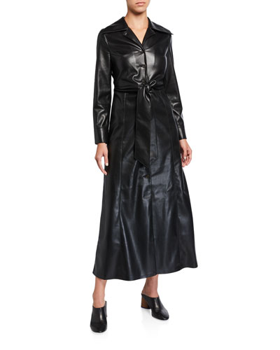 Tarot Vegan Leather Tie-Waist Dress