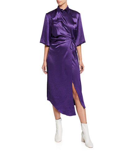 Lais Drape-Front Satin Shirt Dress