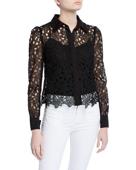 Eleanora Floral Guipure Lace Button-Down Top
