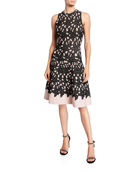 Sleeveless Floral Mesh Jacquard Flow Dress