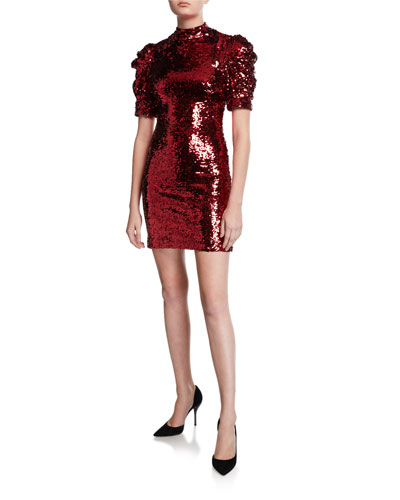 Brenna Sequin Mock-Neck Puff-Sleeve Fitted Dress