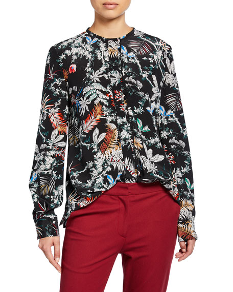 Printed Long-Sleeve Blouse with Ruffle Placket