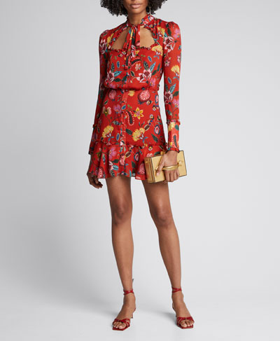Morgana Floral Long-Sleeve Tie-Neck Dress