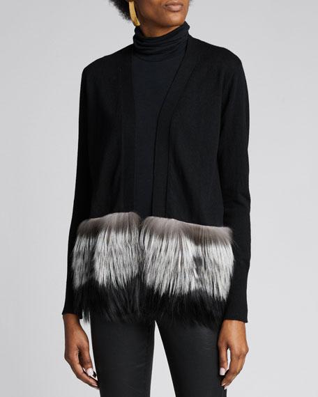 Open-Front Wool Cardigan w/ Fox Fur Trim
