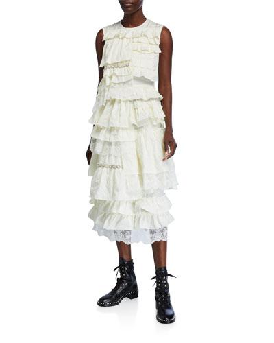 Sleeveless Ruffle-Embroidered Dress