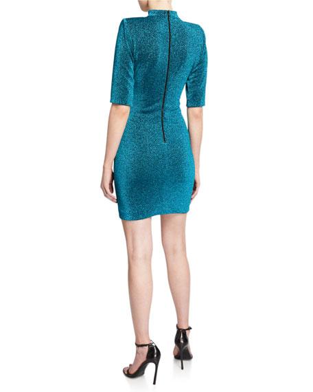 Inka Metallic Strong Shoulder V-Neck Mini Dress w/ Collar