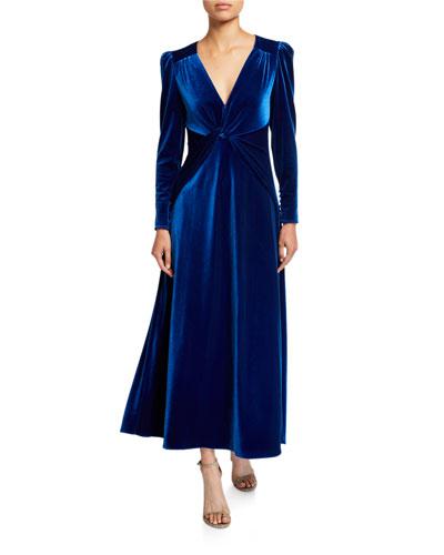 Twisted Velvet Long-Sleeve Dress
