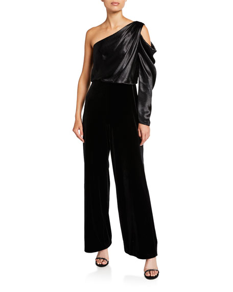 Image 1 of 1: Draped Asymmetrical Velvet Jumpsuit