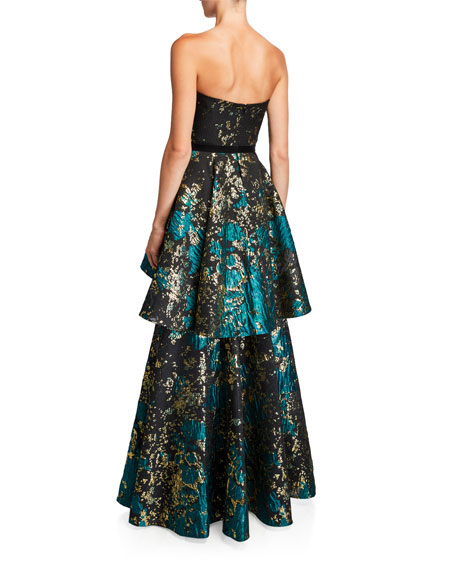 Strapless Metallic Fil Coup Tiered Gown with Velvet Waist Trim
