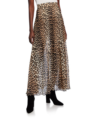 Leopard-Print Pleated Georgette Skirt