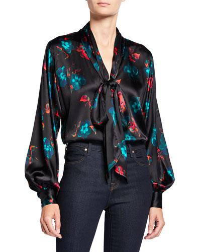 Tie-Neck Silk Floral-Print Top