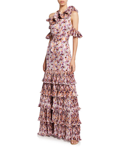 Amonda Floral Pleated Tiered Long Dress