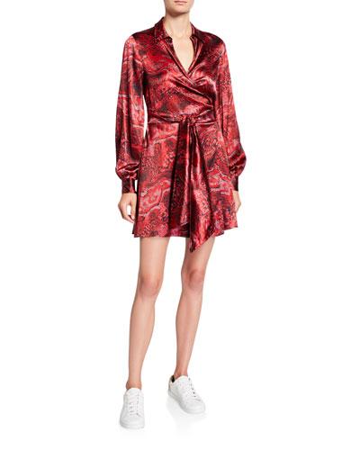 Printed Satin Long-Sleeve Wrap Dress