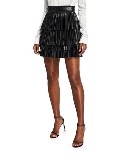 Briana Pleated Leather Mini Skirt