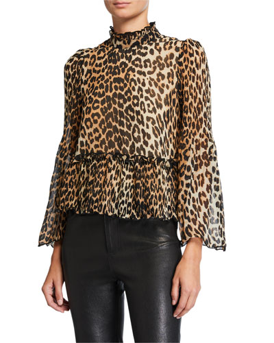 Pleated Leopard-Print High-Neck Top
