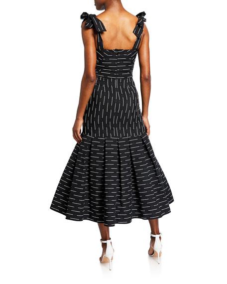 Leticia Embroidered Tie-Strap Flare Dress