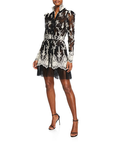 Hilaria High-Neck Lace Long-Sleeve Dress