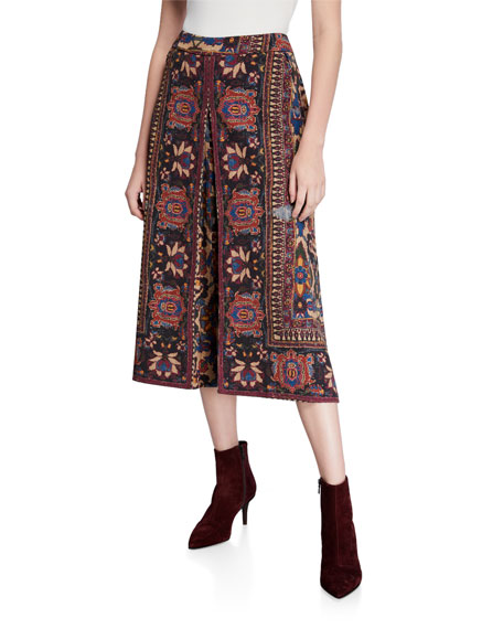 Annie Printed A-Line Midi Skirt