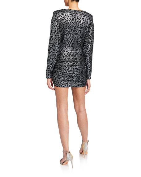 Metallic Animal-Print V-Neck Long-Sleeve Shirred Dress