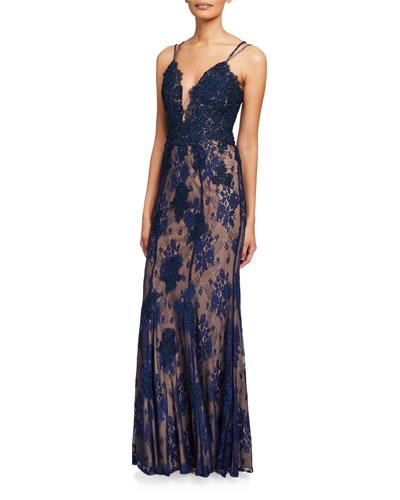V-Neck Spaghetti-Strap Lace Column Gown