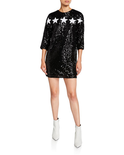 Star Applique 3/4-Sleeve Sequin Cocktail Dress