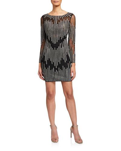 Embellished Bateau-Neck Long-Sleeve Short Dress