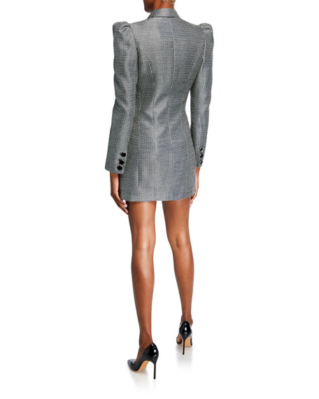 Blake Check Double-Breasted Puff-Sleeve Jacket Dress