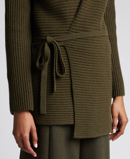Long-Sleeve Tie-Front Wool Tunic