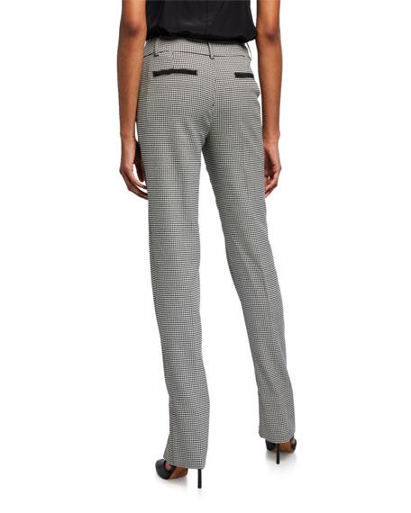 Houndstooth Split-Hem Straight-Leg Pants