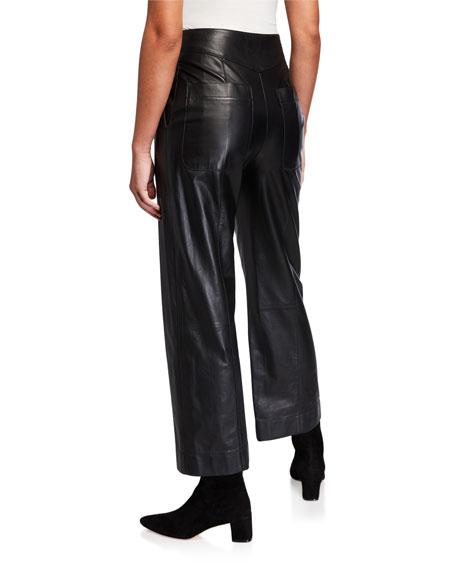 Straight-Leg Leather Pants