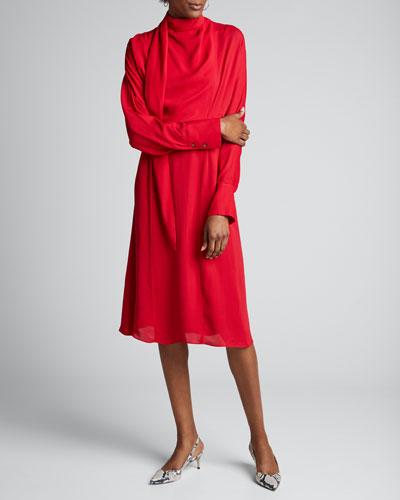 Tie-Neck Double Georgette Midi Dress