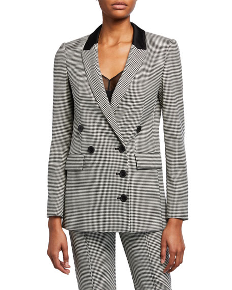 Houndstooth Double-Breasted Blazer