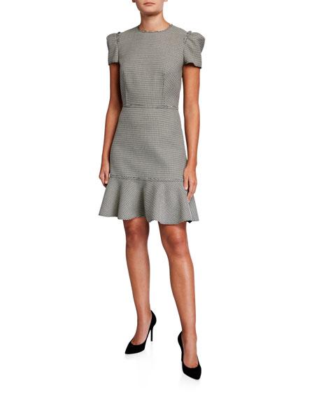 Houndstooth Short-Sleeve Flounce-Hem Dress