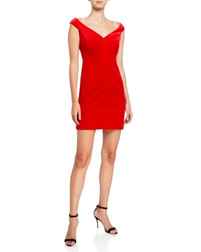Paneled Off-Shoulder Stretch Velvet Dress