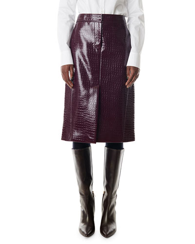Croc-Embossed Patent Trouser Skirt