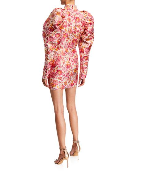 Number 1 Puff-Sleeve Jacquard Mini Dress
